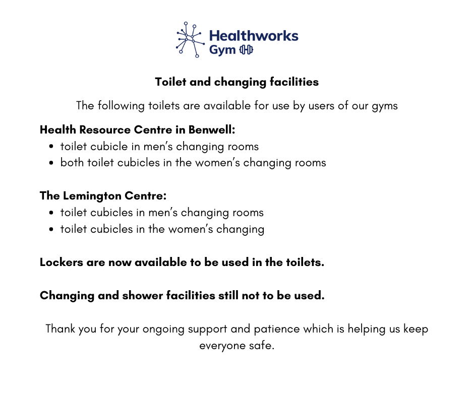 toilet and changing facilities Aug 2020
